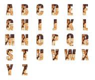Abecadła inkasowy ustawiający na Grungy Rdzewiejącej Stalowej teksturze Zdjęcie Royalty Free