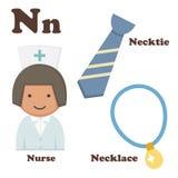 Abecadła N list Kolia, krawat, pielęgniarka Zdjęcie Stock