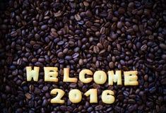 Abecadła powitanie 2016 zrobił od chlebowych ciastek Obrazy Stock