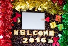 Abecadła powitanie 2016 zrobił od chlebowych ciastek Zdjęcie Stock