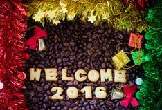 Abecadła powitanie 2016 zrobił od chlebowych ciastek Obraz Royalty Free