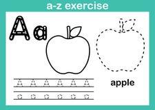 Abecadła a-z ćwiczenie z kreskówki słownictwem dla kolorystyki książki ilustracja wektor
