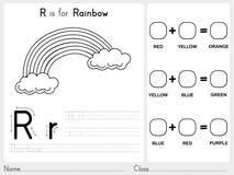 Abecadła A-Z kalkowanie i łamigłówki Worksheet, ćwiczenia dla dzieciaków - kolorystyki książka Fotografia Royalty Free