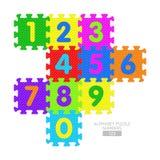 Abecadło łamigłówka - liczby Obrazy Stock