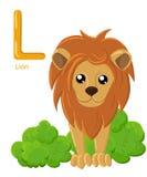Abecadło dla dzieci Śliczny zoo abecadło z kreskówek zwierzętami odizolowywającymi na białym L lew Fotografia Royalty Free