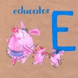 Abecadło dla dzieci z świniowatym zawodem Listowy d pedagog royalty ilustracja