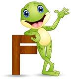 Abecadło F z żaby kreskówką ilustracji