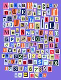 Abecadło kolażu abc chrzcielnicy listu wektorowa abecadłowa wycinanka gazetowy magazyn i kolorowy alfabetyczny handmade ilustracji