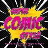 Abecadło kolekci set Komiczny wystrzał sztuki styl Światło - różowa kolor wersja Listy, liczby i postacie dla dzieciaków, Fotografia Stock
