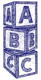 Abecadło sześciany z A, b, C listy royalty ilustracja