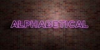 ABECADŁOWY - fluorescencyjny Neonowej tubki znak na brickwork - Frontowy widok - 3D odpłacający się królewskość bezpłatny akcyjny ilustracji