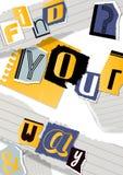 Abecadłowy kolażu sztandar, plakatowa wektorowa ilustracja Słowa cią za nożycach od kolorowego papieru Kawałki royalty ilustracja