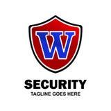 Abecadłowy logo firmy ochroniarska i typografii wektor royalty ilustracja