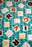 Abecadła na tkanina dywanu powierzchni Obraz Stock