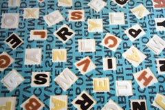 Abecadła na tkanina dywanu powierzchni Fotografia Royalty Free