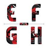 Abecadło Czerwonego koloru Abstrakcjonistyczny styl w secie EFGH ilustracji