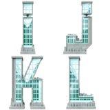 Abecadło w postaci miastowych budynków. Fotografia Royalty Free