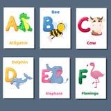 Abecadeł printable flashcards wektorowa kolekcja z listem b C d E F Zoo zwierzęta dla język angielski edukaci royalty ilustracja