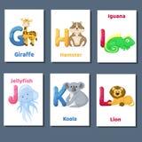 Abecadeł printable flashcards wektorowa kolekcja z listem G H Ja J K L Zoo zwierzęta dla język angielski edukaci ilustracji