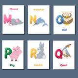 Abecadeł printable flashcards wektorowa kolekcja z listem M N O P Q R Zoo zwierzęta dla język angielski edukaci royalty ilustracja