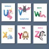 Abecadeł printable flashcards wektorowa kolekcja z listem U V W, Y Z X Zoo zwierzęta dla język angielski edukaci ilustracji