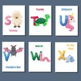 Abecadeł printable flashcards wektorowa kolekcja z listowym S T U V W X Zoo zwierzęta dla język angielski edukaci ilustracji