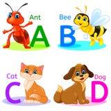 Abecadło żartuje zwierzęta ABCD Obraz Stock