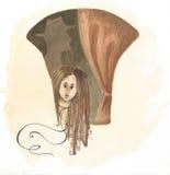 Abedul de la acuarela en el bosque Imagen de archivo libre de regalías