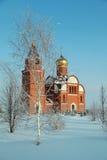 Abedul en un fondo de la iglesia ortodoxa en invierno Fotos de archivo