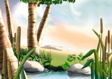 Abedul y pequeño lago ilustración del vector