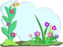 Abeille avec le nuage floral des textes illustration libre de droits
