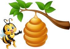 Abeille de bande dessinée et une ruche illustration libre de droits