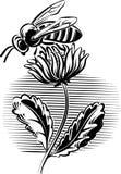 Abeille de travailleur sur une fleur illustration de vecteur