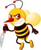 Abeille de tueur tenant le couteau avec le visage fou illustration libre de droits