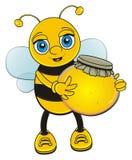 Abeille drôle avec du miel dans des pattes illustration de vecteur