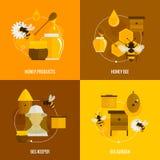 Abeille Honey Icons Flat illustration de vecteur
