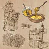 Abeilles, apiculture et miel - paquet tiré par la main 5 de vecteur illustration de vecteur