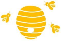 Abeilles avec la ruche illustration stock