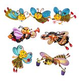 Abeilles de bande dessin?e illustration stock