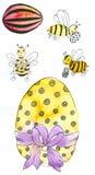 Abeilles de miel d'anfd d'oeufs de pâques Images libres de droits