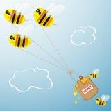Abeilles et baril de miel Image libre de droits