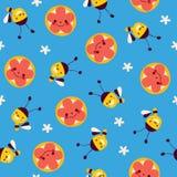Abeilles et fleurs de miel Photographie stock libre de droits