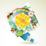 Abeilles et nids d'abeilles Photo stock