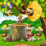 Abeilles et ruche sur l'arbre illustration de vecteur