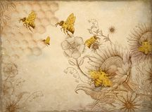 Abeilles et wildflowers de miel illustration de vecteur