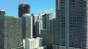 Abejón aéreo Miami video Brickell de la ciudad metrajes