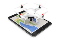 Abejón blanco de Quadrocopter con la cámara de la foto sobre Tablet PC 3d con referencia a ilustración del vector