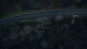 Abejón de la visión superior que gira directamente sobre la situación negra del coche en el camino forestal místico peligroso osc metrajes