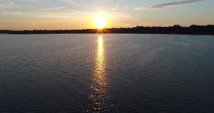 abejón del lago sunrise 4K que vuela adelante almacen de metraje de vídeo