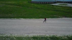 Abejón del vuelo que sigue una opinión aérea de la muchacha del campo, vídeo de la opinión superior 4K UHD del abejón almacen de metraje de vídeo